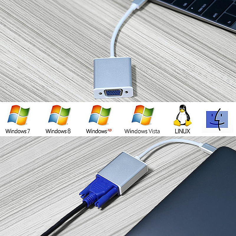 USB-C to VGA Adapter USB 3.1 Type C to VGA Male to Female Adapter for MacBook - Silver