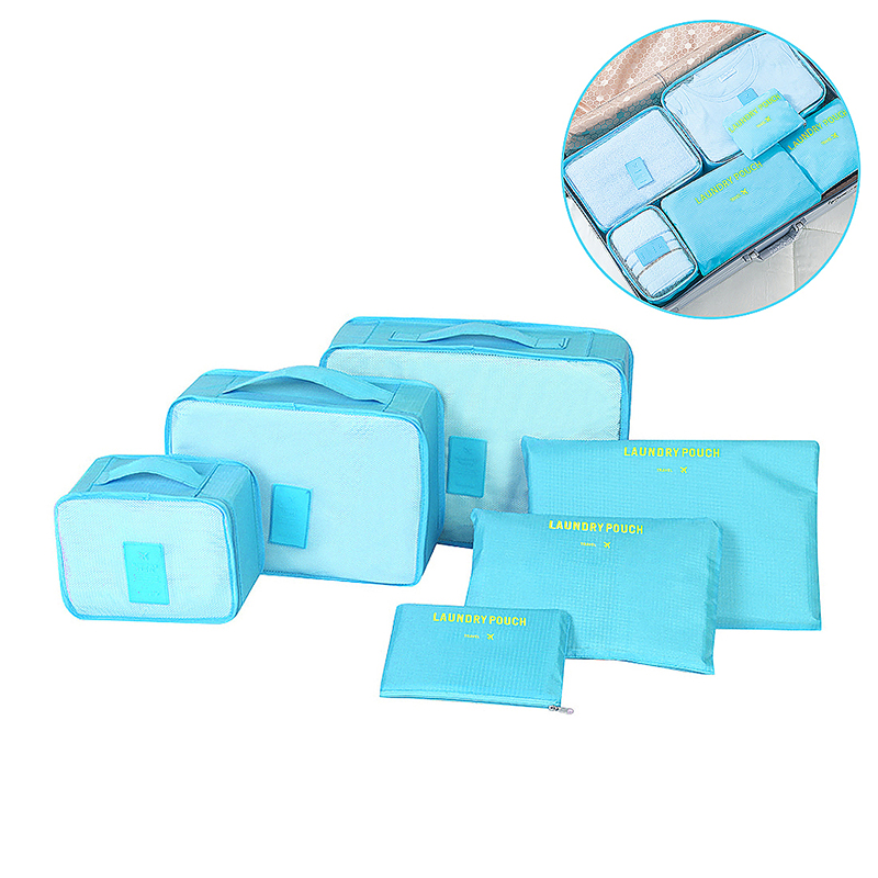 6pcs Waterproof Travel Storage Bags Clothes Packing Cube Luggage Organizer - Blue