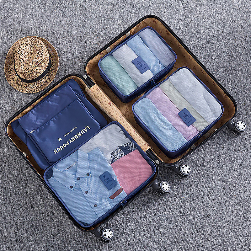 6pcs Waterproof Travel Storage Bags Clothes Packing Cube Luggage Organizer - Dark Blue