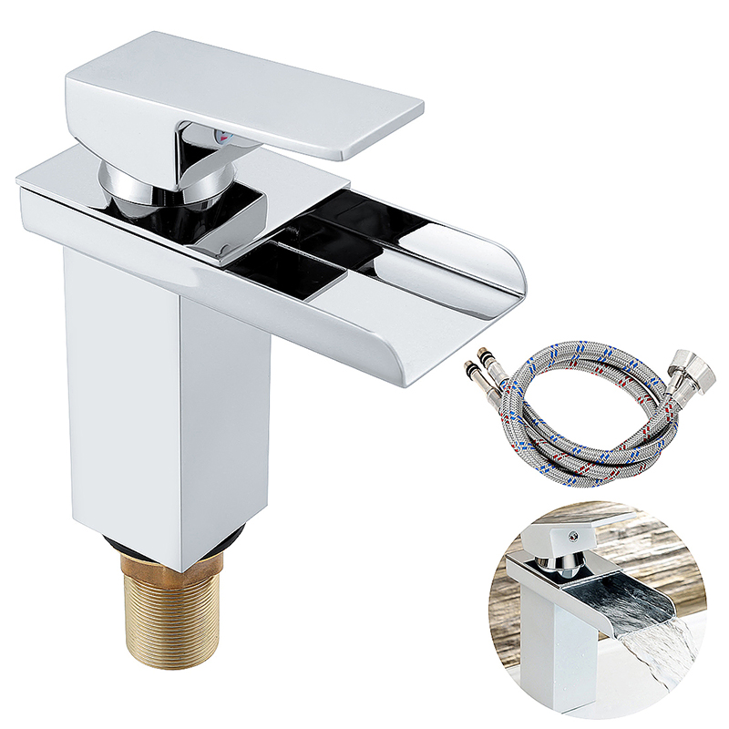 Bathroom Cloakroom Waterfall Basin Sink Mixer Tap Square Chrome Tap with Pipe