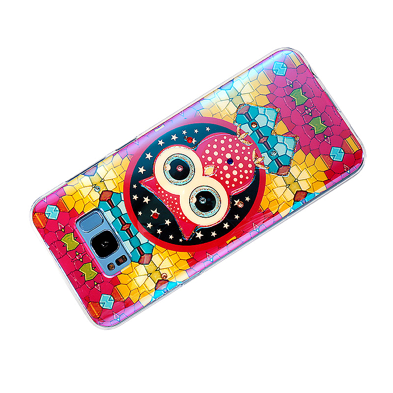 Samsung Soft TPU Colourful Owl Printed Back Cover Case for Galaxy S8 Plus - Rose Red
