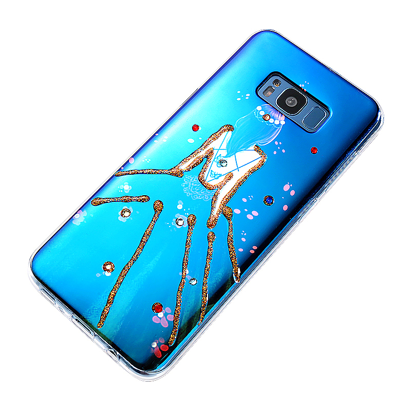 Ultra-Thin Slim Beautiful Girl Pattern Protective Case Cover for Samsung S8 Plus - Blue