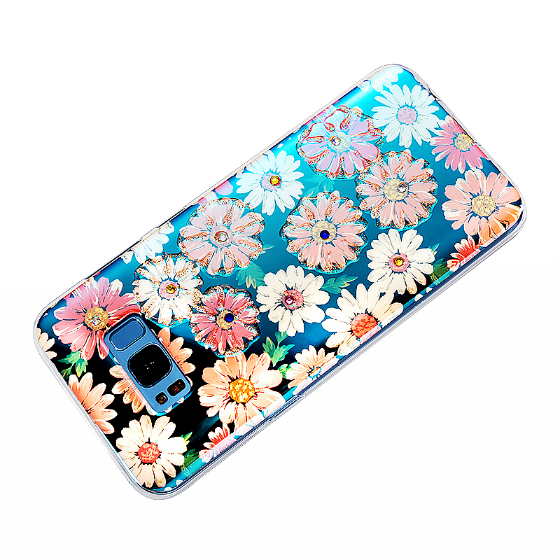TPU Gel Soft Case Floral Pattern Shiny Rhinestone Phone Back Cover Case for Samsung S8 Plus - Pattern 12