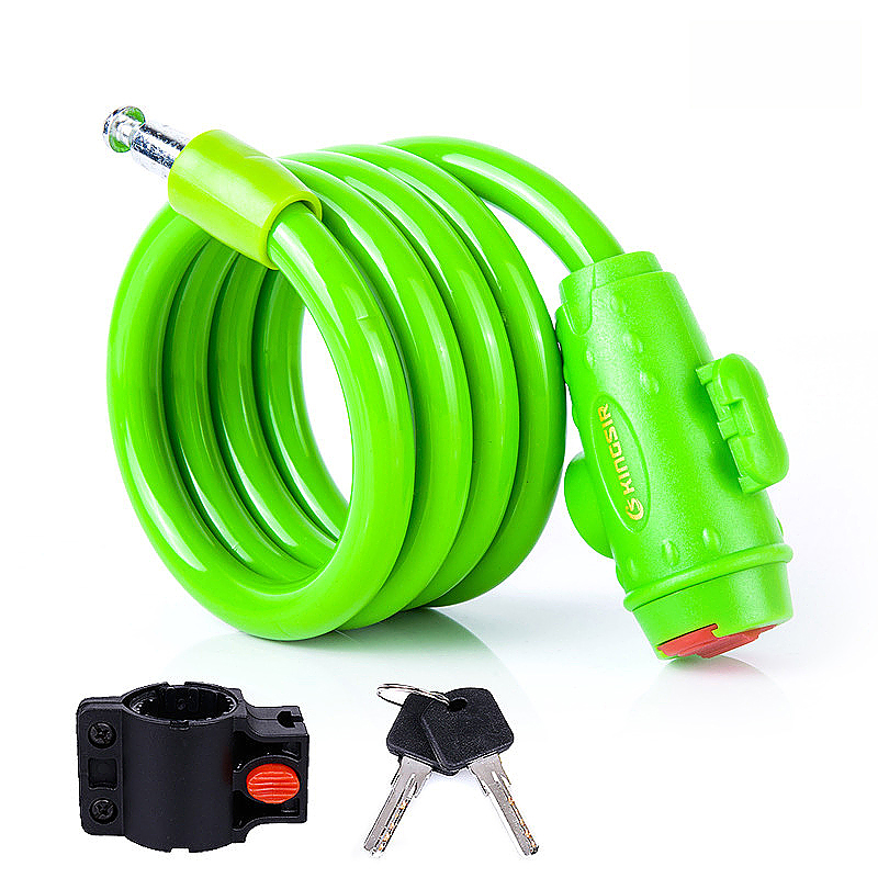 Motorbike Bicycle Security Coil Lock Steel Cable Chain Anti-lost Lock with Key - Green