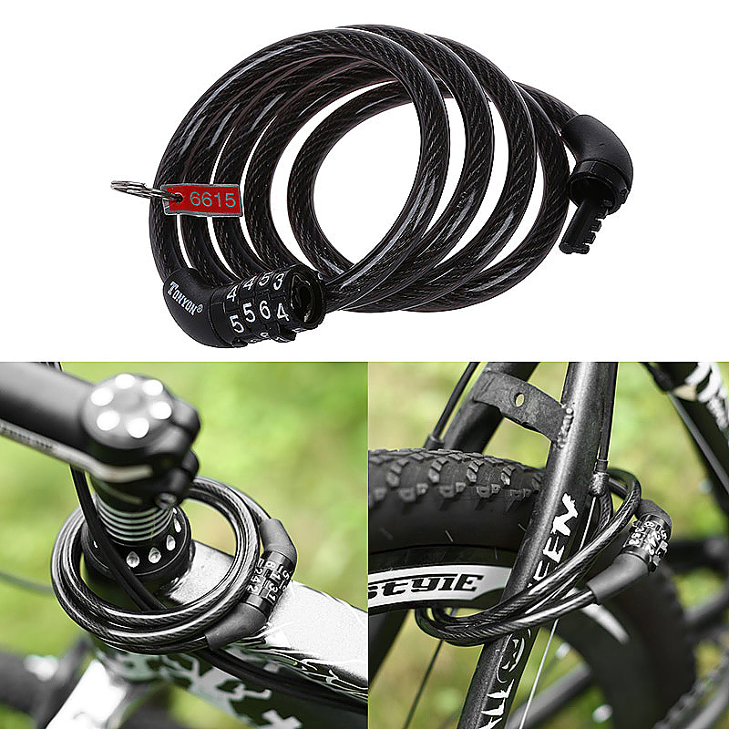Bicycle Bike Coded Lock Spiral Steel Cable Anti-theft Combination Lock - Black