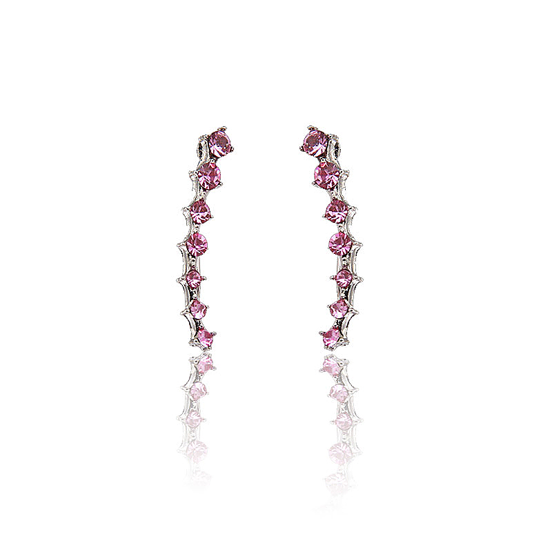 Womens Fashion Rhinestone Shiny Crystal Earrings Ear Hook Stud Jewelry - Pink