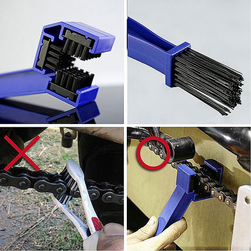 Motorcycle Chain Cleaning Brush Mountain Bike Wheel Chain Cleaning Wash Maintenance Tool - Blue