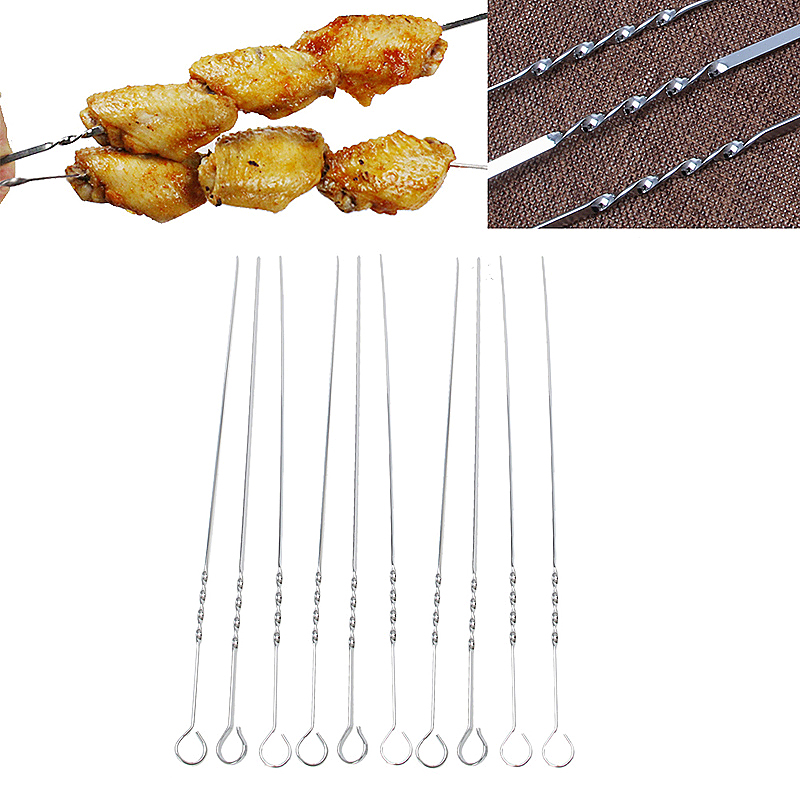 10pcs Extra Long Steel BBQ Meat Vegetable Kebab Skewers for Barbecue