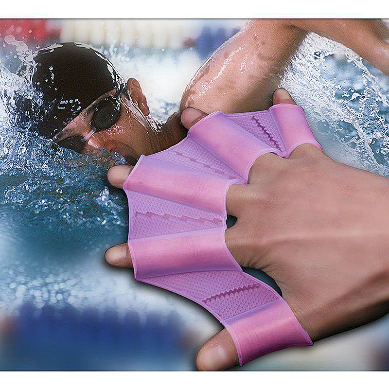 Swim Fast Speed Hands Swimming Fins Silicone Webbed Palm Flippers Size S - Purple