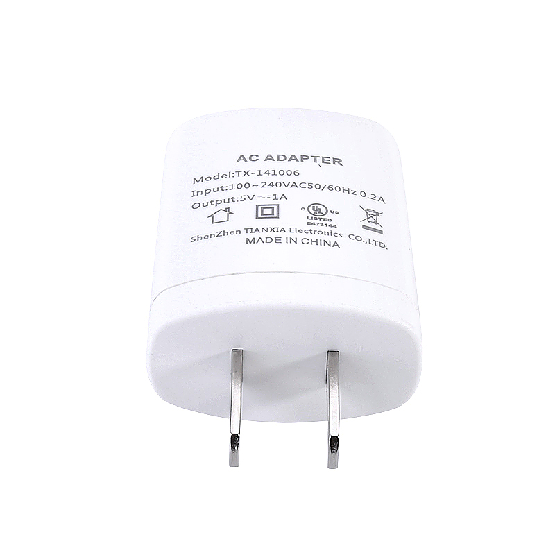 UL Certified Universal 5V 1A US Plug Travel Charger Adapter - White