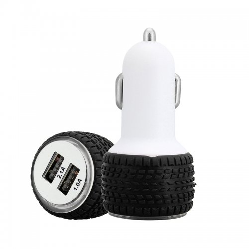 5V 2.1A Dual USB Car Charger Adapter Tire Design - Black