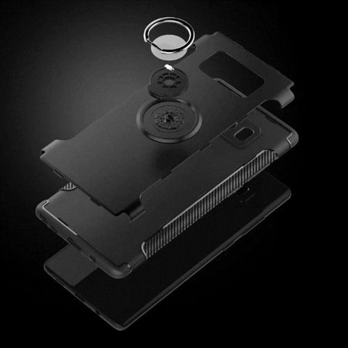 Hybrid Dual Layer Ring Holder Case for Samsung Galaxy Note 8 - Black