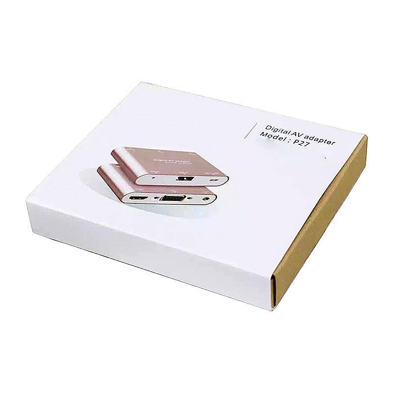P27 Digital AV Adapter USB to HDMI/VGA/AV Converter for iPhone iPad Android - Gold