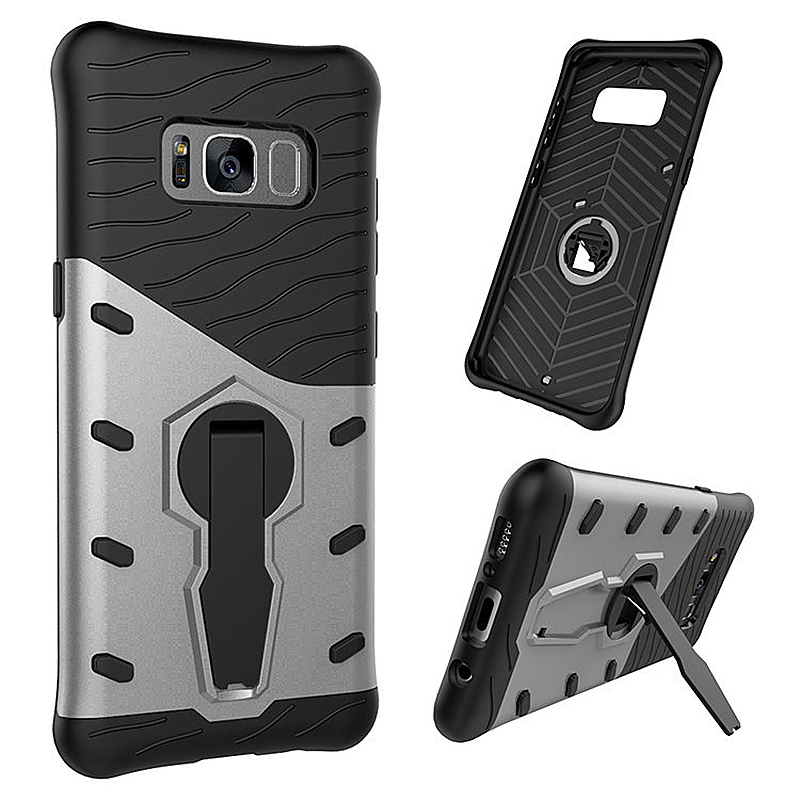 2 in 1 Hybrid Shockproof Rotating Kickstand Heavy Armor Cover Case for Samsung S8 Plus - Silver