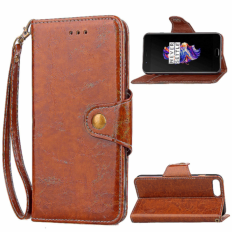 Luxury PU Leather Kickstand Flip Case Wallet Card Phone Cover for OnePlus 5 - Brown