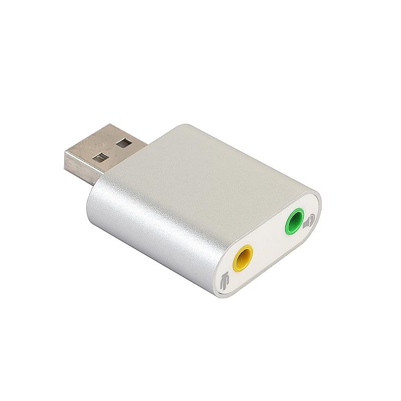 Aluminum 3D USB 7.1 Channel Stereo Audio Sound Adapter Mic Speaker Audio Jack Converter - Silver