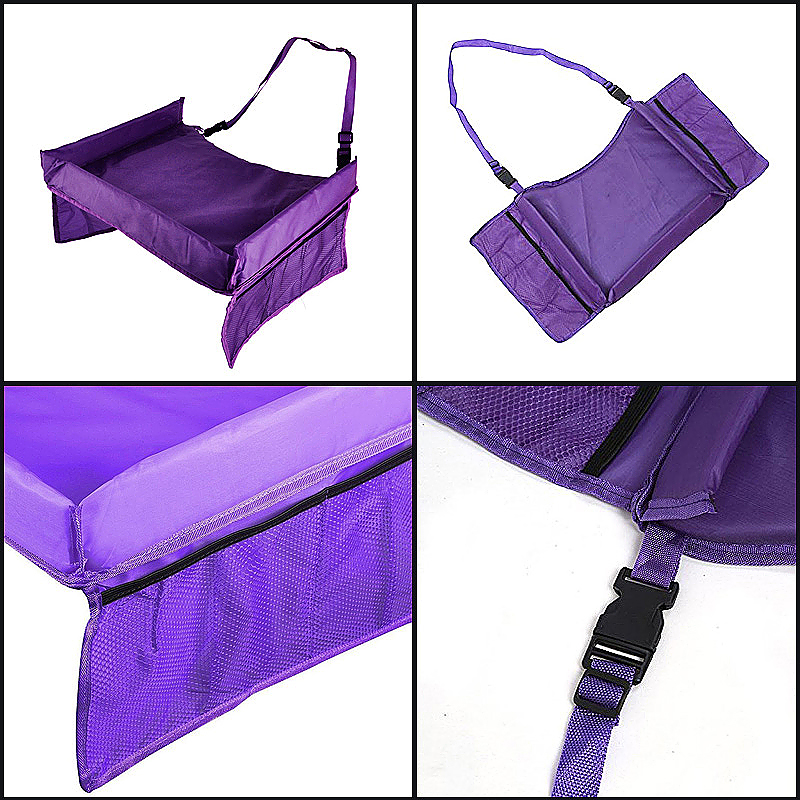 Toddler Car Seat Trays Kids Travel Play Tray with Cup Holder - Purple