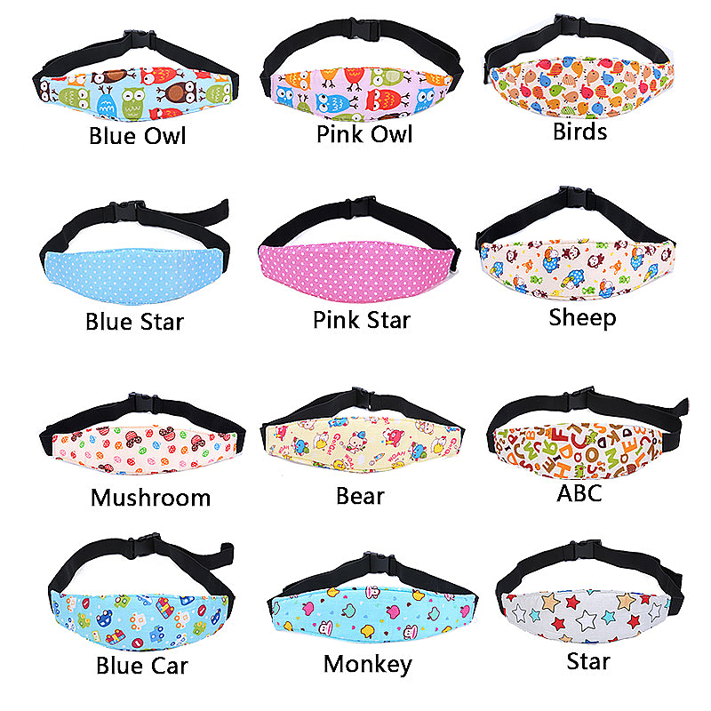 Car Seat Sleeping Head Support Baby Kids Relief Head Belt Neck - Pink Star