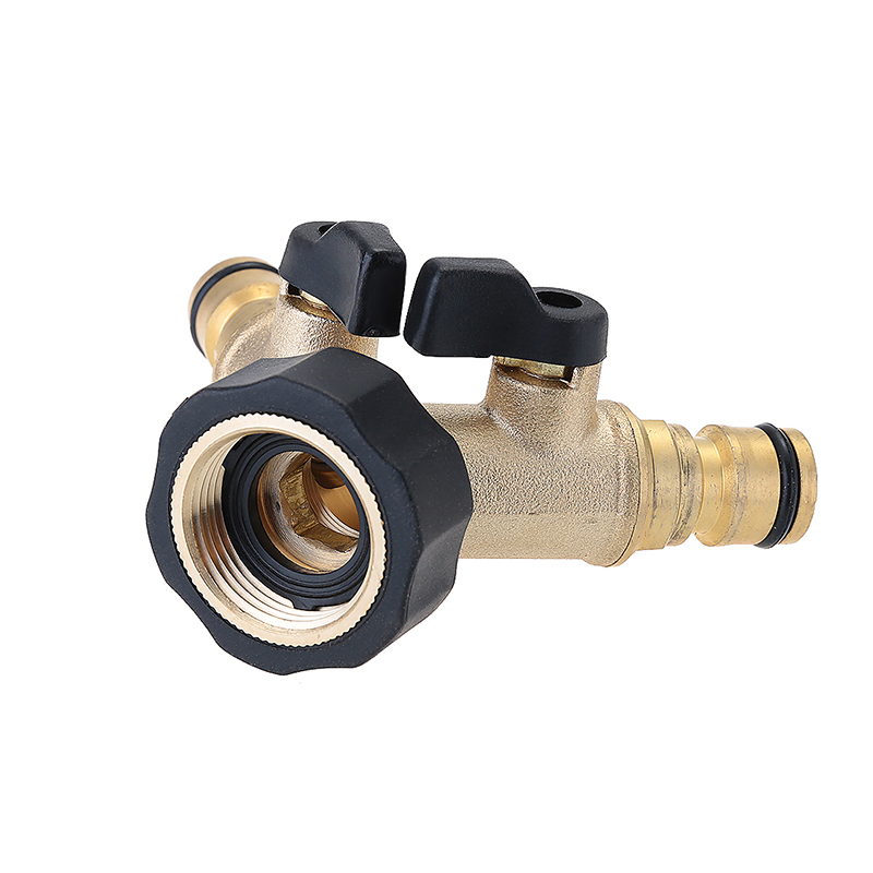 "3/4"" Garden Tap Adapter 2 Way Double Solid Brass Splitter Pipe Hose Connector"