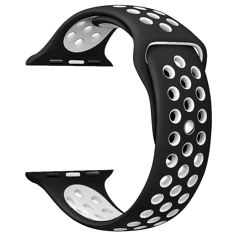 42mm Apple Watch Band Soft Silicone Sports Replacement with Ventilation Holes Band for iWatch - Black + White