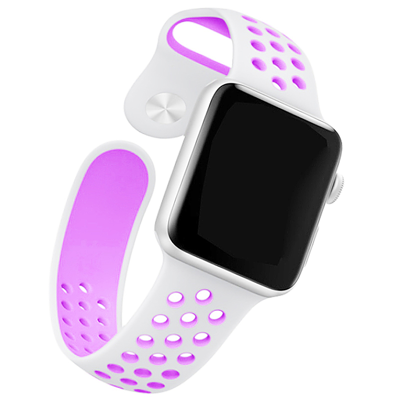 42mm Sport Replacement Wrist Strap for iWatch Series 1 Series 2 Apple watch band - White + Purple