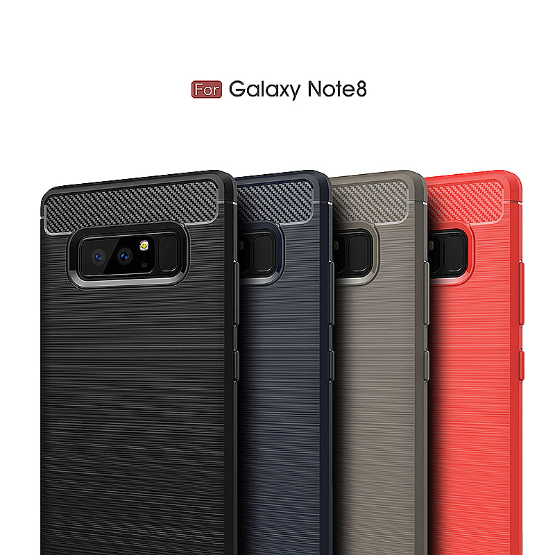 Carbon Fiber Brushed TPU Case for Samsung Galaxy Note 8 - Black