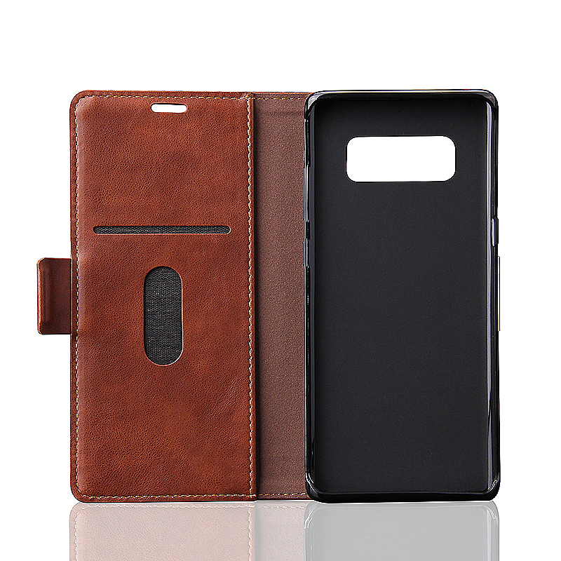 PU Leather Wallet Stand Phone Case for Samsung Galaxy Note 8 - Brown