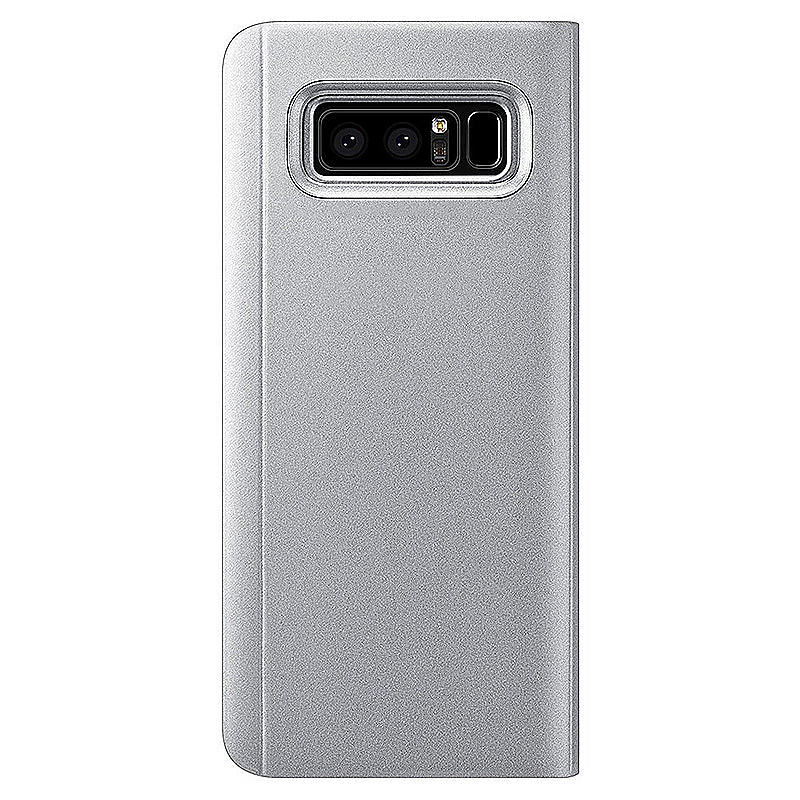 For Samsung Galaxy Note 8 Flip Mirror Shell Stand Case - Silver