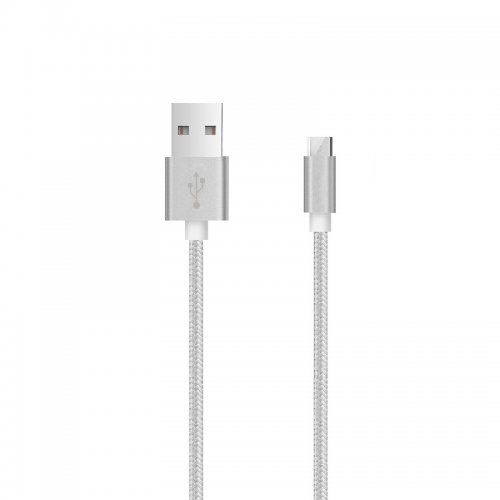 3m Knit Braid USB Data Sync Charging Cable for Samsung Android Phones - Silver