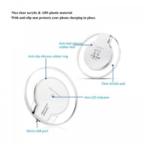 Qi Wireless Charger Charging Pad Station for iPhone Samsung Smartphone - White