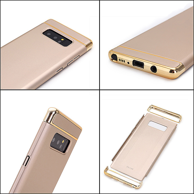 3 in 1 Combo Electroplating PC Hard Case for Samsung Galaxy Note 8 - Gold