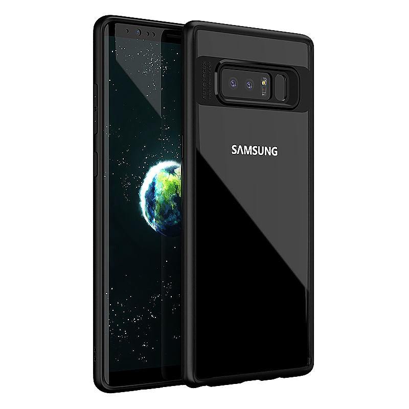 Hybrid TPU Frame + Clear Acrylic Phone Case for Samsung Galaxy Note 8 - Black