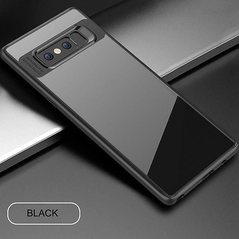Hybrid TPU Frame + Clear Acrylic Phone Case for Samsung Galaxy Note 8 - Black