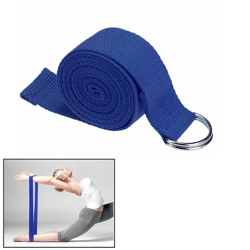 D-Ring Cotton Yoga Stretch Strap Training Belt Fitness Exercise Gym Equipment - Dark Blue