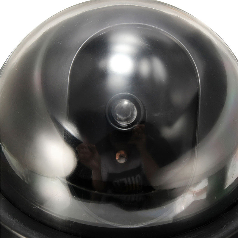 Fake Dummy Dome Security Camera with Flashing LED Indoor Outdoor Warning Sign