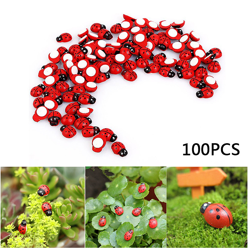 100Pcs Miniature Ladybird Ladybug Garden Ornament Figurine Fairy Dollhouse Home Decorations