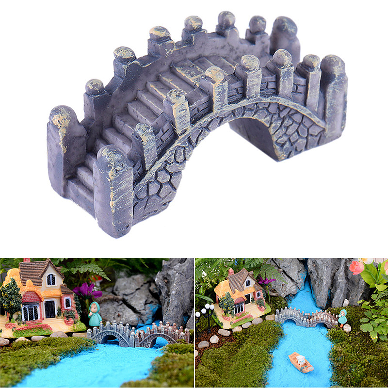 Miniature Dollhouse Fairy Garden Micro Mini Bridge Landscape Dollhouse DIY Decor - Gray