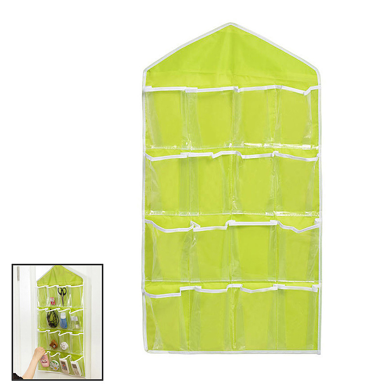 16 Pockets Home Door Clear Hanging Bag Shoe Rack Hanger Sundries Storage Organizer - Green