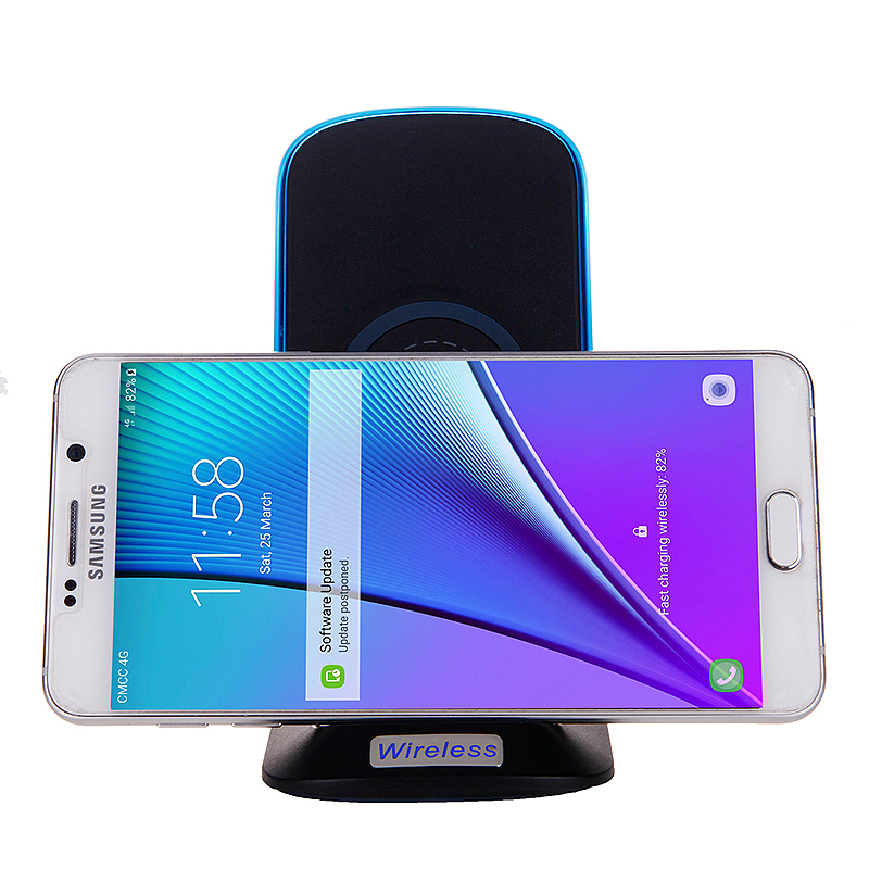 Wireless Qi Fast Charging Wireless Stand Phone Charger for Samsung S8 S7 - Black