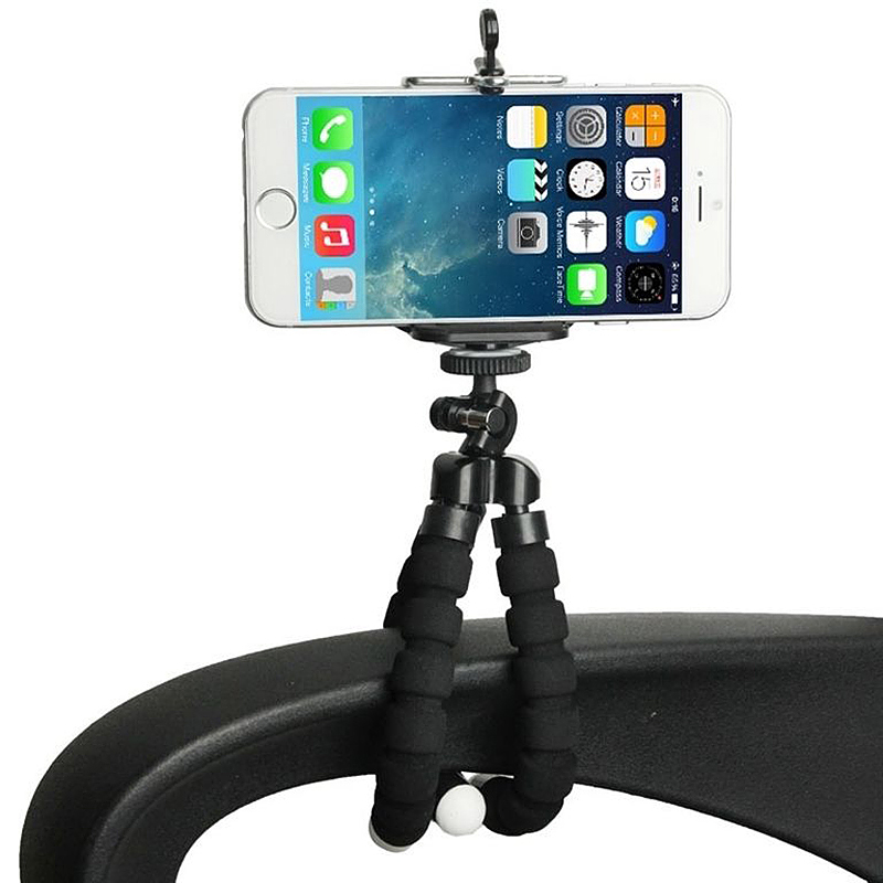 Larger Octopus TriPod Stand Grip Holder Mount with Clip for Mobile Phones Cameras Gadgets - Black