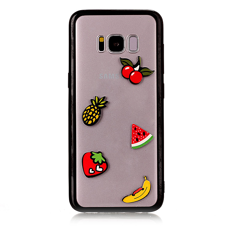 TPU Bumper Grip + Acrylic Clear Crystal Case for Samsung Galaxy S8 - Fruit Pattern