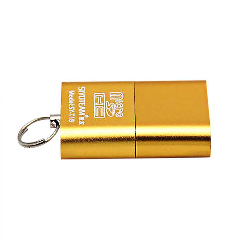 Mini USB 2.0 Micro SD TF T-Flash Memory Card Reader Adapter - Gold