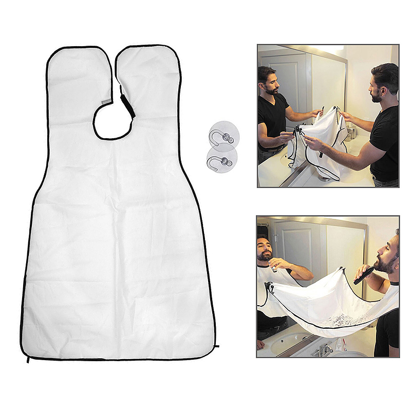 Beard Shave Apron Men' Facial Beard Care Catcher Hair Trimmer Bib - White