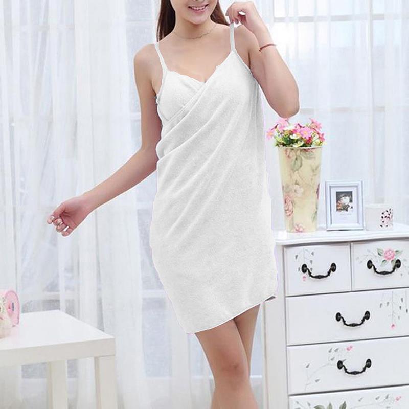 Women's Girls Wearable Bath Towel Magic Fast Drying Bathrobes Bath Skirt - White