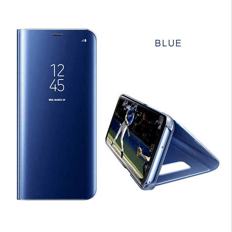 Mirror Plating PU Leather Flip Stand Phone Case Cover for Samsung Galaxy S8 - Blue