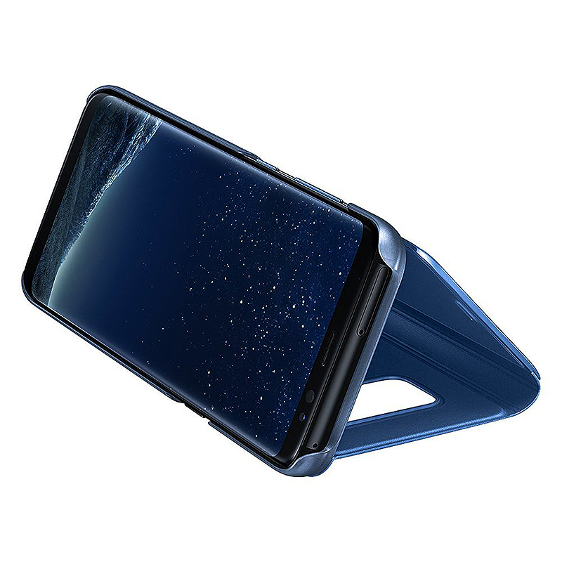 Samsung Galaxy S8 Plus Clear View Mirror Leather Flip Stand Case Cover - Blue