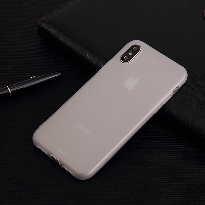 Soft TPU Frosted Case Slim Fit Rubber Silicone Full Protective Phone Case Cover for iPhone X/XS - White