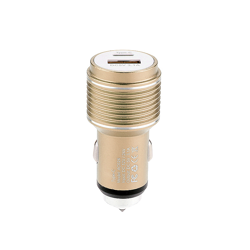 5V 3.1A Type-C USB Car Charger Adapter with Car Emergency Safety Hammer Charger for Samsung Android Smartphones - Gold