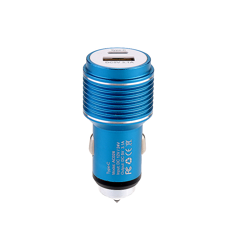 5V 3.1A Type-C USB Car Charger Adapter with Car Emergency Safety Hammer Charger for Samsung Android Smartphones - Blue