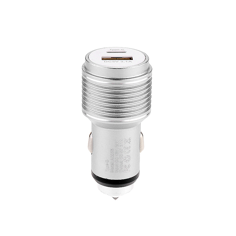 5V 3.1A Type-C USB Car Charger Adapter with Car Emergency Safety Hammer Charger for Samsung Android Smartphones - Silver